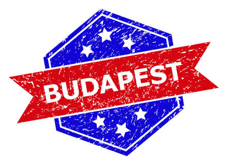 Hexagon BUDAPEST seal. Flat vector blue and red bicolor grunge seal stamp with BUDAPEST message inside hexagon form, ribbon is used also. Rubber imitation with corroded surface, on a white background.