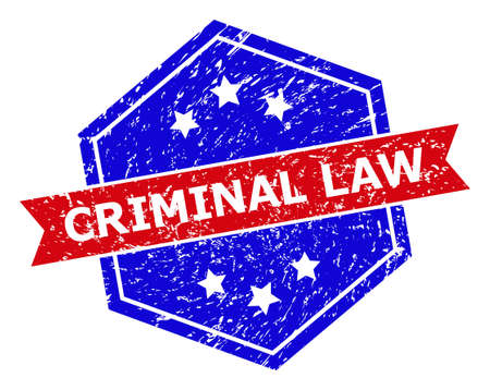 Hexagon CRIMINAL LAW seal. Flat vector red and blue bicolor scratched seal stamp with CRIMINAL LAW message inside hexagon form, ribbon used. Watermark with corroded surface, on a white background.