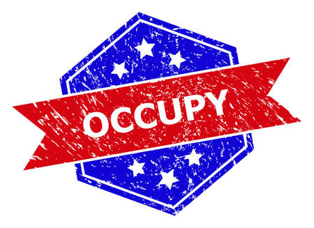Hexagon OCCUPY seal stamp. Flat vector blue and red bicolor scratched rubber stamp with OCCUPY text inside hexagoanl shape, ribbon used. Rubber imitation with corroded style, on a white background.
