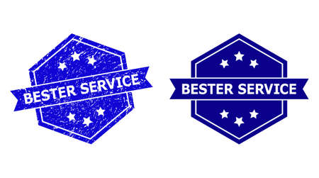 Hexagonal BESTER SERVICE seal on a white background, with original variant. Flat vector blue distress seal with BESTER SERVICE phrase inside hexagoanl shape, ribbon is used.