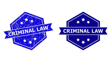 Hexagon CRIMINAL LAW seal on a white background, with original variant. Flat vector blue grunge seal stamp with CRIMINAL LAW text inside hexagon shape, ribbon is used also.
