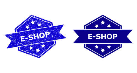 Hexagon E-SHOP seal stamp on a white background, with undamaged variant. Flat vector blue scratched stamp with E-SHOP caption inside hexagon form, ribbon is used also. Imprint with scratched style.