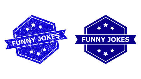 Hexagon FUNNY JOKES stamp seal on a white background, with source version. Flat vector blue grunge stamp with FUNNY JOKES phrase inside hexagon shape, ribbon used. Imprint with grunged style.