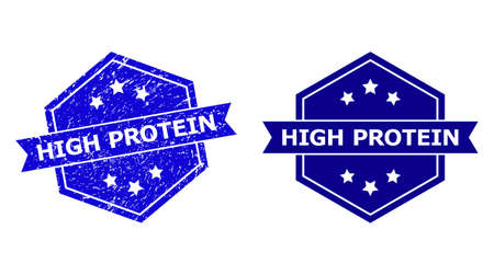 Hexagon HIGH PROTEIN stamp seal on a white background, with clean version. Flat vector blue distress stamp with HIGH PROTEIN message inside hexagon shape, ribbon used also.