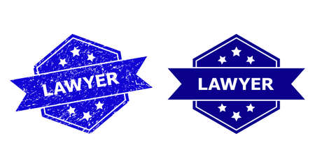 Hexagonal LAWYER seal on a white background, with clean version. Flat vector blue distress seal stamp with LAWYER phrase inside hexagoanl form, ribbon is used. Imprint with distress texture.