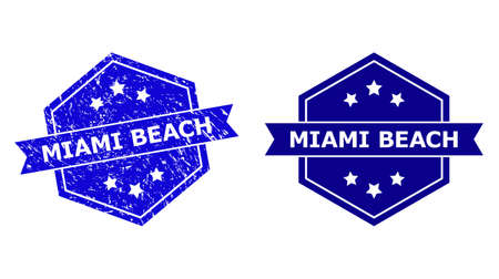 Hexagon MIAMI BEACH watermark on a white background, with clean version. Flat vector blue grunge watermark with MIAMI BEACH phrase inside hexagon shape, ribbon used also. Imprint with grunge texture.