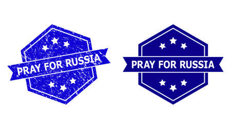 Hexagon PRAY FOR RUSSIA stamp seal on a white background, with undamaged version. Flat vector blue distress seal stamp with PRAY FOR RUSSIA text inside hexagon shape, ribbon is used. Vector Illustration