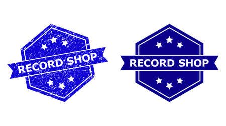 Hexagon RECORD SHOP stamp on a white background, with clean variant. Flat vector blue distress seal stamp with RECORD SHOP text inside hexagon shape, ribbon used also.  イラスト・ベクター素材