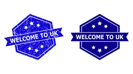 Hexagon WELCOME TO UK stamp seal on a white background, with clean variant. Flat vector blue textured seal with WELCOME TO UK caption inside hexagon form, ribbon is used also.  イラスト・ベクター素材