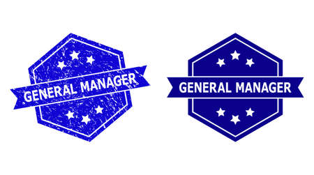 Hexagonal GENERAL MANAGER seal stamp on a white background, with original variant. Flat vector blue textured seal stamp with GENERAL MANAGER caption inside hexagoanl shape, ribbon is used.
