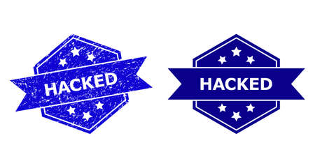 Hexagon HACKED seal stamp on a white background, with undamaged variant. Flat vector blue grunge seal with HACKED message inside hexagon shape, ribbon used. Imprint with distress texture.