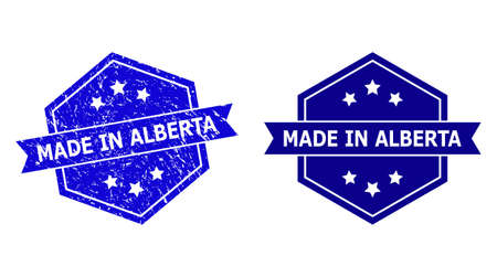 Hexagon MADE IN ALBERTA seal stamp on a white background, with original version. Flat vector blue scratched seal stamp with MADE IN ALBERTA text inside hexagon form, ribbon used.