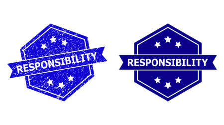 Hexagonal RESPONSIBILITY seal on a white background, with clean version. Flat vector blue distress seal stamp with RESPONSIBILITY caption inside hexagon form, ribbon used.