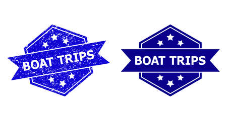 Hexagonal BOAT TRIPS seal stamp on a white background, with clean variant. Flat vector blue textured seal stamp with BOAT TRIPS message inside hexagoanl shape, ribbon is used.
