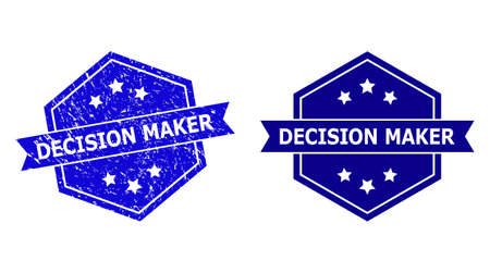 Hexagon DECISION MAKER stamp seal on a white background, with clean variant. Flat vector blue scratched seal stamp with DECISION MAKER caption inside hexagon form, ribbon used also.