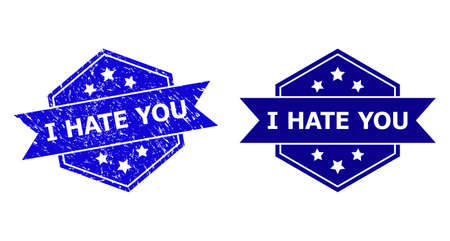 Hexagonal I HATE YOU stamp seal on a white background, with undamaged version. Flat vector blue distress stamp with I HATE YOU text inside hexagon form, ribbon used also.
