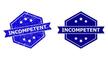 Hexagon INCOMPETENT seal stamp on a white background, with clean variant. Flat vector blue textured stamp with INCOMPETENT text inside hexagon shape, ribbon used also. Imprint with scratched texture.