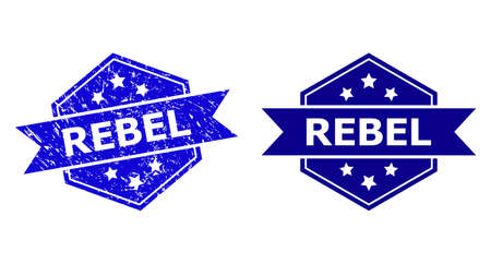 Hexagon REBEL seal stamp on a white background, with original version. Flat vector blue scratched seal stamp with REBEL phrase inside hexagon shape, ribbon is used also. Watermark with unclean style.