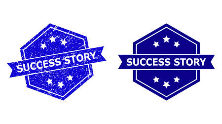 Hexagon SUCCESS STORY seal stamp on a white background, with clean version. Flat vector blue scratched seal stamp with SUCCESS STORY caption inside hexagoanl form, ribbon is used also.