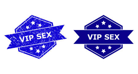 Hexagon VIP SEX watermark on a white background, with clean version. Flat vector blue textured stamp with VIP SEX text inside hexagon form, ribbon used also. Watermark with unclean texture.