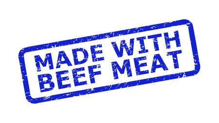 Blue MADE WITH BEEF MEAT watermark on a white background. Flat vector grunge seal with MADE WITH BEEF MEAT message is placed inside rounded rectangle frame. Watermark with grunge surface. Ilustrace