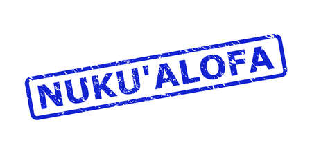 Blue NUKUALOFA seal stamp on a white background. Flat vector distress seal stamp with NUKUALOFA phrase is placed inside rounded rectangular frame. Imprint with grunged texture.