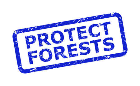 Blue PROTECT FORESTS seal stamp on a white background. Flat vector distress stamp with PROTECT FORESTS phrase is placed inside rounded rectangle frame. Rubber imitation with distress texture.