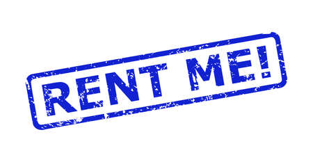 Blue RENT ME! stamp seal on a white background. Flat vector grunge seal stamp with RENT ME! message is placed inside rounded rectangular frame. Rubber imitation with distress texture.