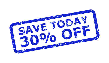 Blue SAVE TODAY 30% OFF seal stamp on a white background. Flat vector grunge watermark with SAVE TODAY 30% OFF caption is inside rounded rectangle frame. Watermark with grunge style.