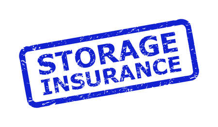 Blue STORAGE INSURANCE watermark on a white background. Flat vector textured watermark with STORAGE INSURANCE message is placed inside rounded rectangular frame. Watermark with scratched texture.