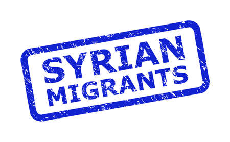 Blue SYRIAN MIGRANTS watermark on a white background. Flat vector textured watermark with SYRIAN MIGRANTS text is inside rounded rectangle frame.