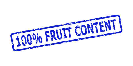 Blue 100% FRUIT CONTENT seal stamp on a white background. Flat vector distress seal stamp with 100% FRUIT CONTENT text is placed inside rounded rect frame. Rubber imitation with unclean style.