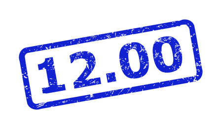 Blue 12.00 seal stamp on a white background. Flat vector scratched seal stamp with 12.00 title is inside rounded rectangular frame. Imprint with distress surface.