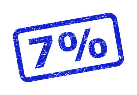 Blue 7% seal stamp on a white background. Flat vector distress seal stamp with 7% caption is inside rounded rectangle frame. Rubber imitation with distress texture.