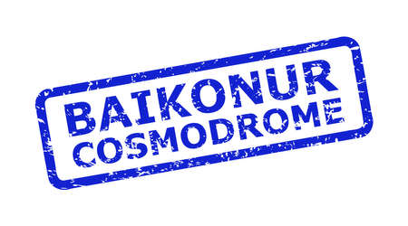 Blue BAIKONUR COSMODROME stamp seal on a white background. Flat vector distress seal stamp with BAIKONUR COSMODROME caption is placed inside rounded rect frame. Watermark with grunge surface.