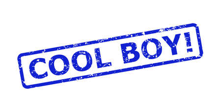 Blue COOL BOY! seal stamp on a white background. Flat vector scratched seal stamp with COOL BOY! text is inside rounded rectangle frame. Imprint with grunge surface.