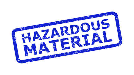 Blue HAZARDOUS MATERIAL seal stamp on a white background. Flat vector scratched seal stamp with HAZARDOUS MATERIAL phrase is placed inside rounded rectangle frame. Imprint with scratched surface.
