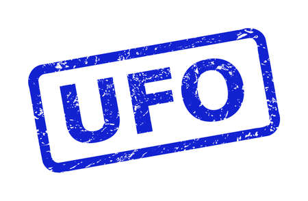 Blue UFO watermark on a white background. Flat vector grunge watermark with UFO phrase is inside rounded rect frame. Watermark with distress texture.