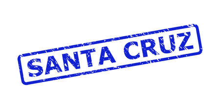 Blue SANTA CRUZ stamp seal on a white background. Flat vector grunge seal stamp with SANTA CRUZ text is placed inside rounded rect frame. Rubber imitation with corroded texture.