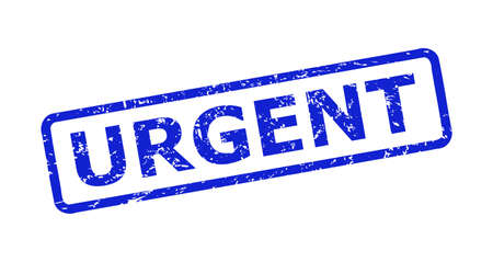 Blue URGENT seal stamp on a white background. Flat vector distress seal stamp with URGENT message is placed inside rounded rectangle frame. Imprint with unclean style.