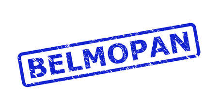 Blue BELMOPAN stamp seal on a white background. Flat vector distress seal stamp with BELMOPAN caption is placed inside rounded rectangular frame. Rubber imitation with unclean style.