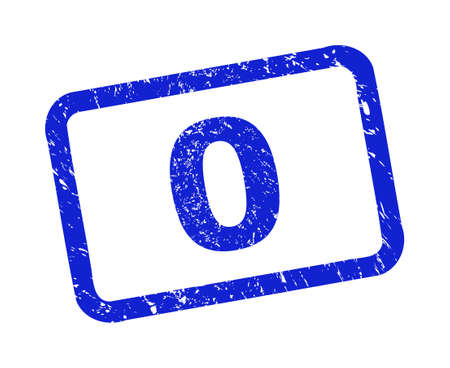 Blue seal stamp on a white background. Flat vector grunge seal stamp with text is placed inside rounded rect frame. Rubber imitation with corroded texture.