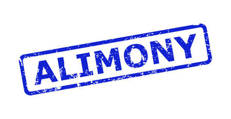 Blue ALIMONY stamp seal on a white background. Flat vector distress watermark with ALIMONY text is placed inside rounded rectangle frame. Watermark with distress texture.
