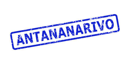Blue ANTANANARIVO seal on a white background. Flat vector textured seal stamp with ANTANANARIVO caption is placed inside rounded rectangular frame. Imprint with unclean surface.