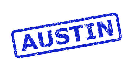 Blue AUSTIN seal stamp on a white background. Flat vector grunge seal stamp with AUSTIN phrase is inside rounded rect frame. Rubber imitation with scratched style.