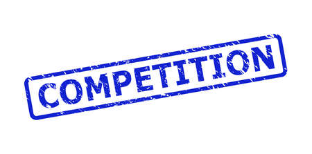 Blue COMPETITION seal on a white background. Flat vector scratched seal stamp with COMPETITION message is placed inside rounded rectangular frame. Rubber imitation with scratched surface.
