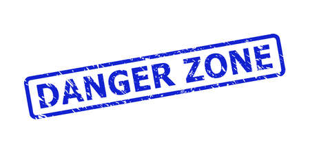 Blue DANGER ZONE watermark on a white background. Flat vector distress watermark with DANGER ZONE title is placed inside rounded rectangular frame. Watermark with corroded style.