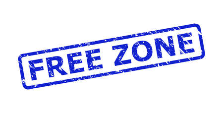 Blue FREE ZONE stamp on a white background. Flat vector distress watermark with FREE ZONE caption is placed inside rounded rectangle frame. Watermark with distress texture.
