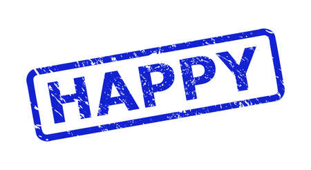Blue HAPPY seal stamp on a white background. Flat vector scratched seal stamp with HAPPY text is placed inside rounded rect frame. Imprint with unclean style.