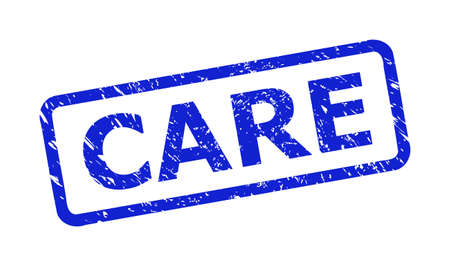 Blue CARE seal stamp on a white background. Flat vector scratched seal stamp with CARE phrase is inside rounded rectangle frame. Rubber imitation with corroded surface.